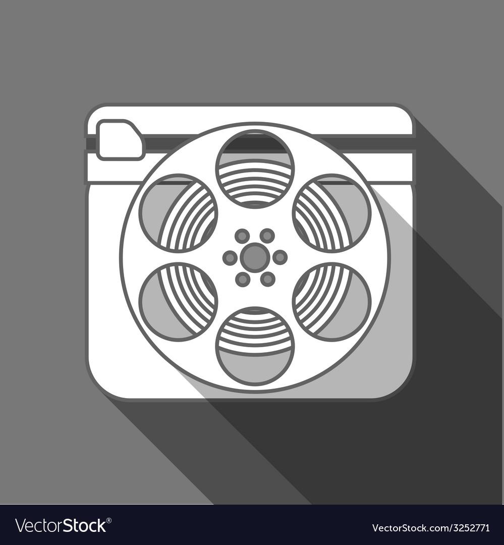 Flat long shadow cinema icon vector image