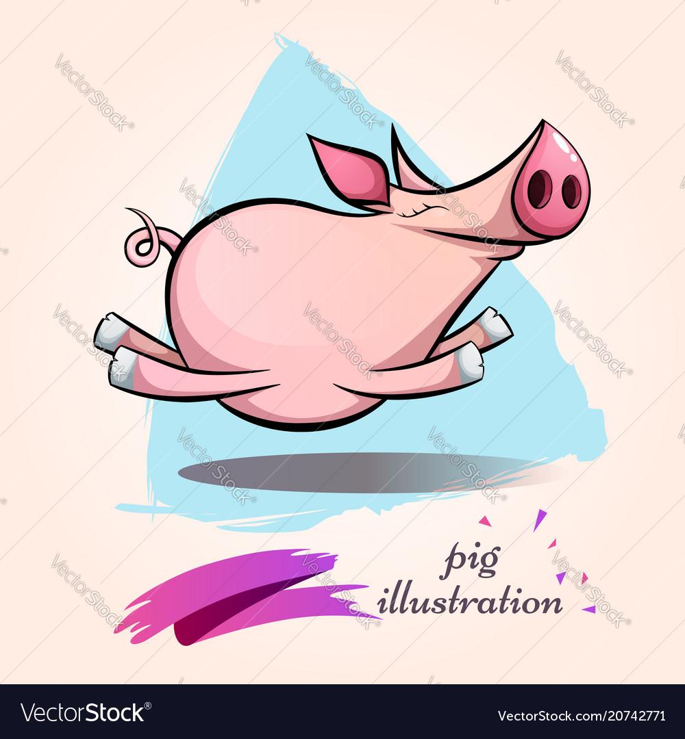 Funny cute crazy cartoon characters pig symbol