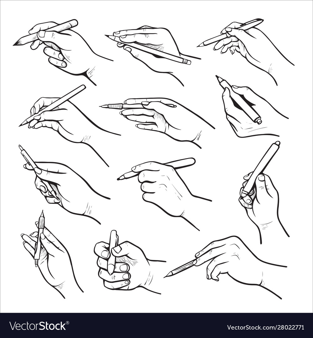 hand holding pen black and white set royalty free vector