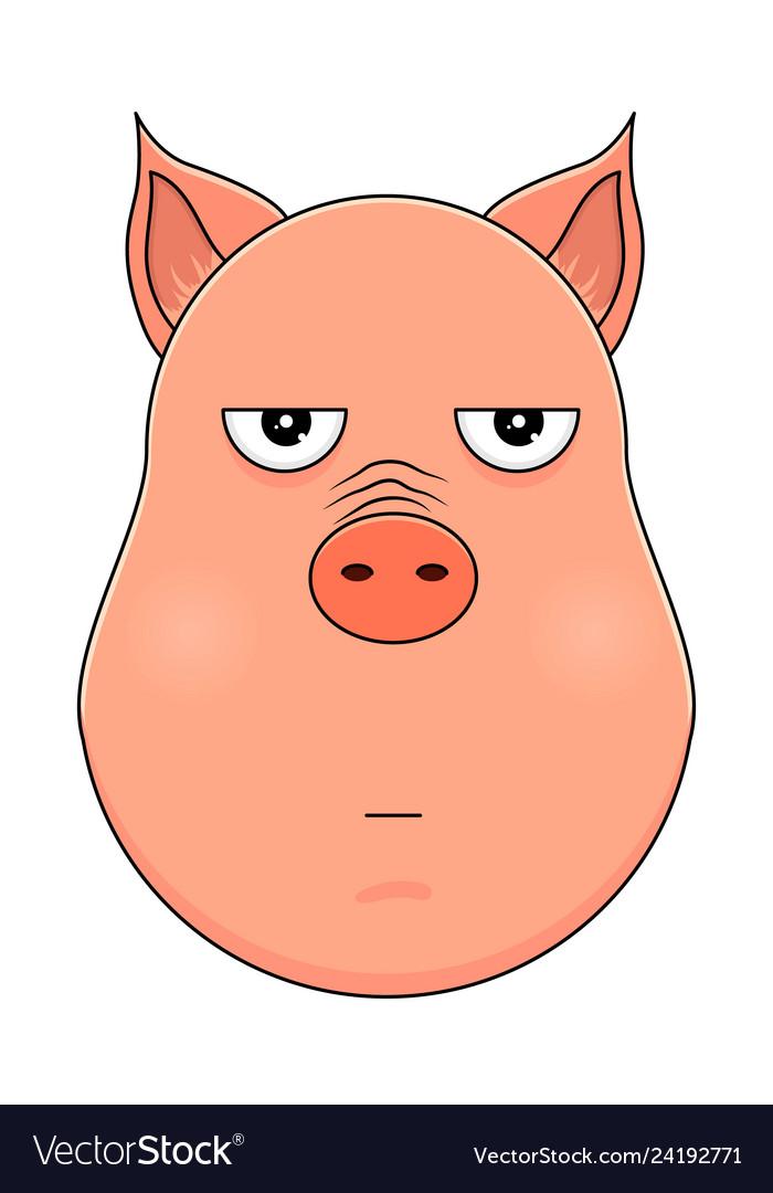 Head of annoyed pig in cartoon style kawaii