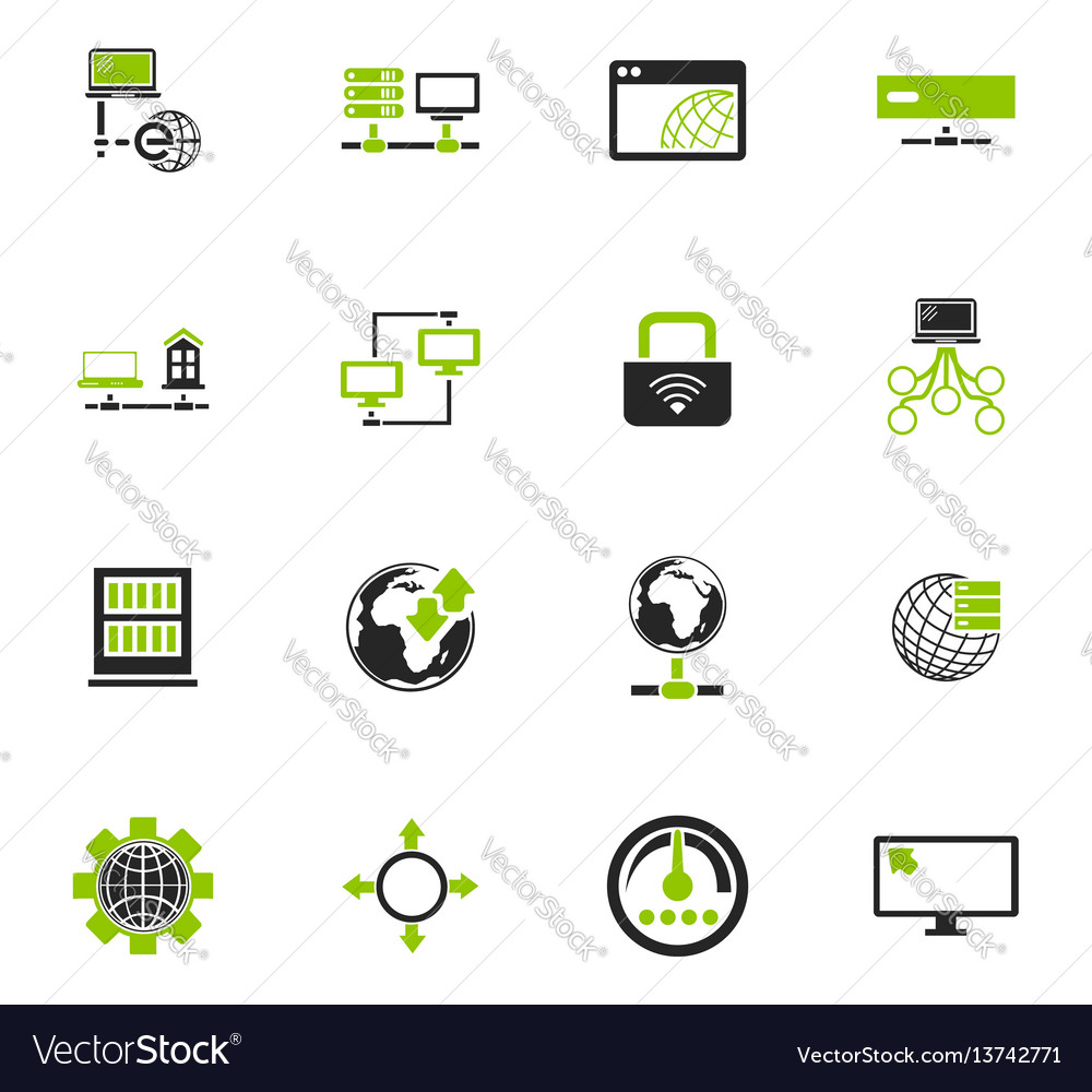 Internet server network icons set