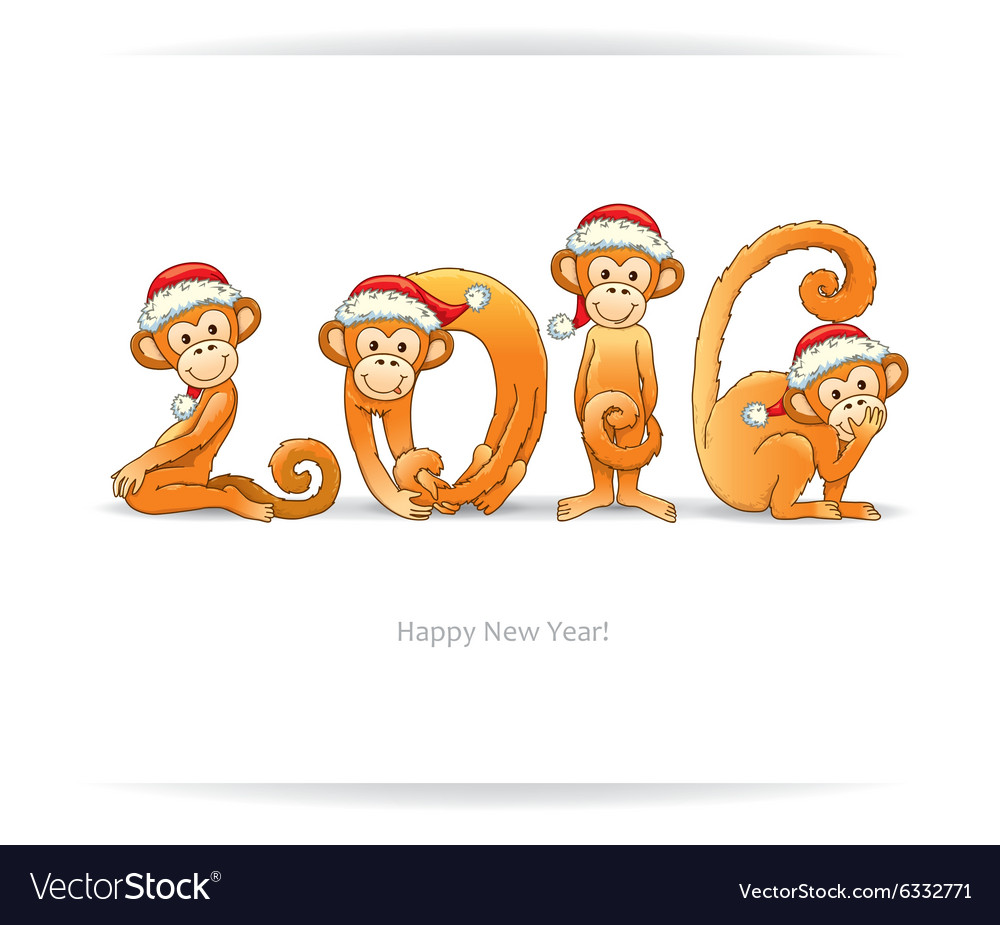 New Year card with monkey in Santa hat Royalty Free Vector