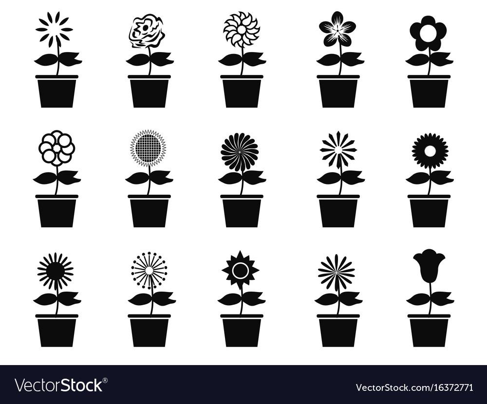 Pot flower plants icon set