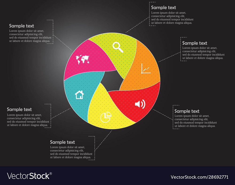 Round infographic template with hexagonal