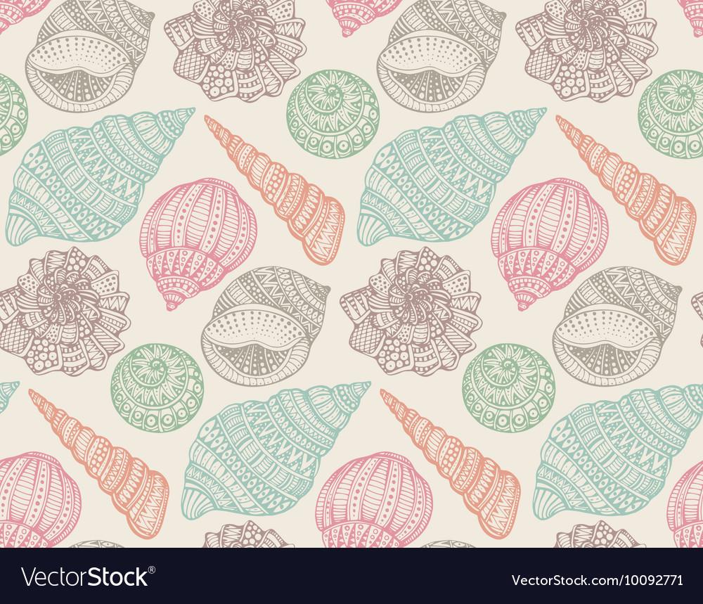 Seamless pattern with hand drawn ornate seashells