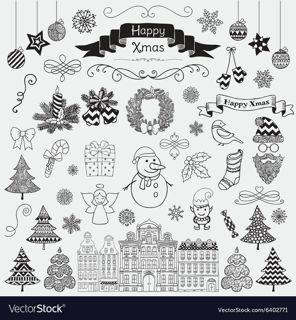 Set of Hand Drawn Artistic Christmas Doodle Icons