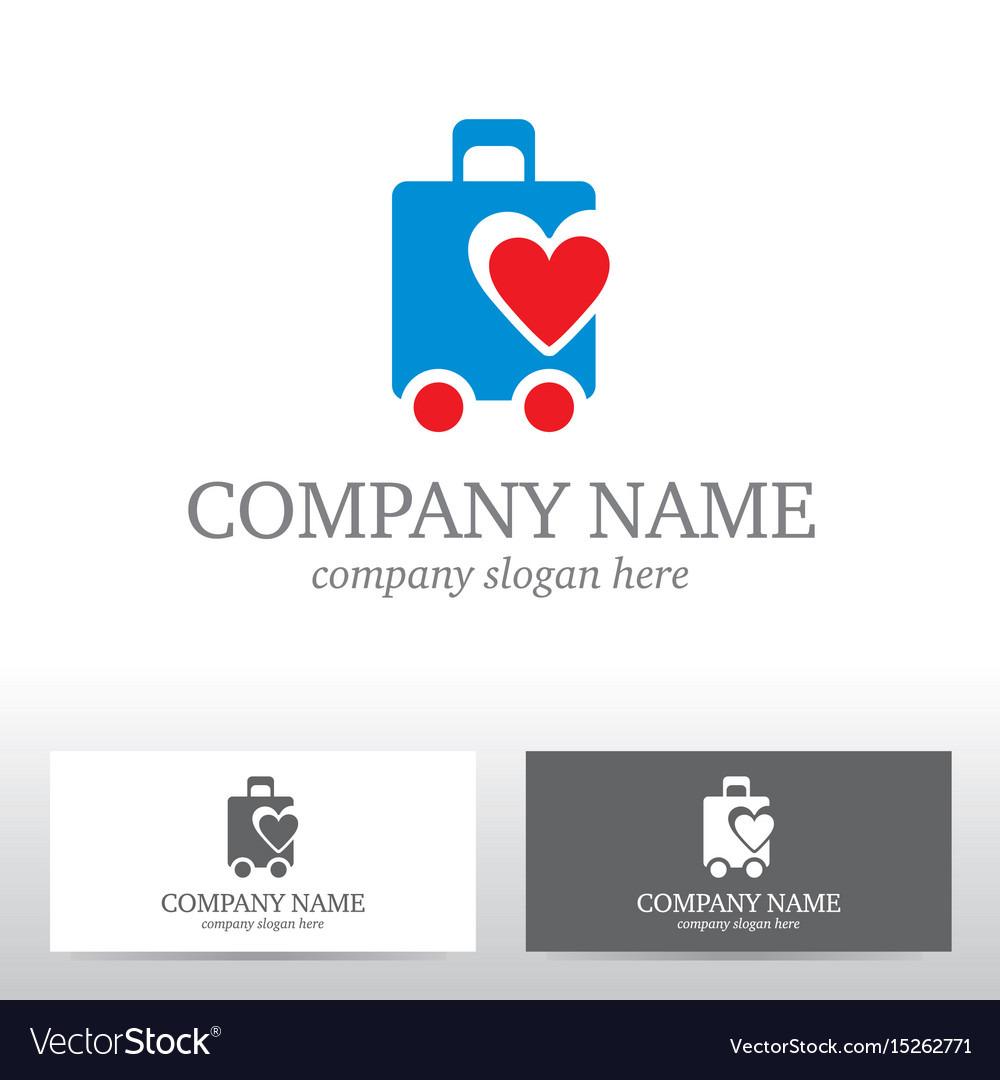 Travel logo design with bag and heart