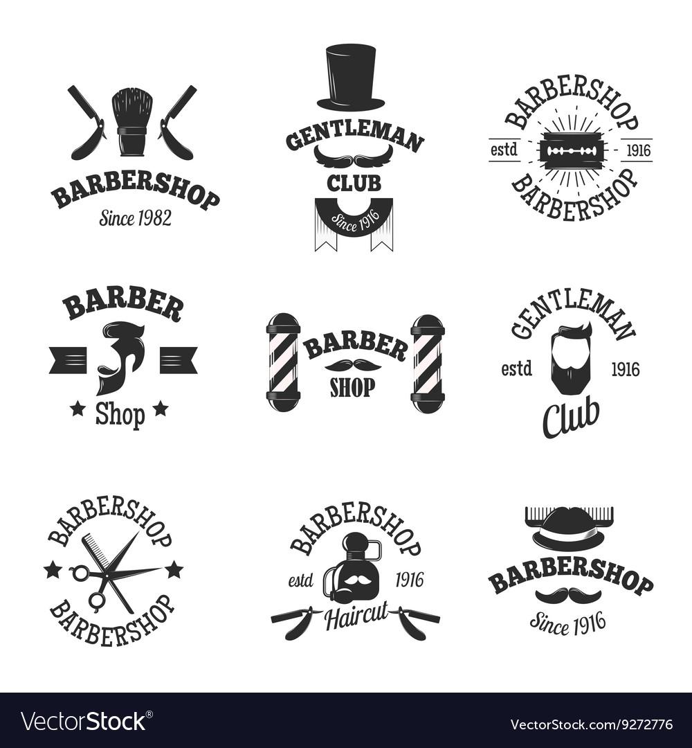 Barber shops symbols set