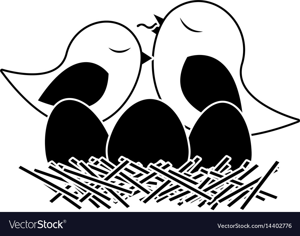Black silhouette of bird in nest with eggs and vector image