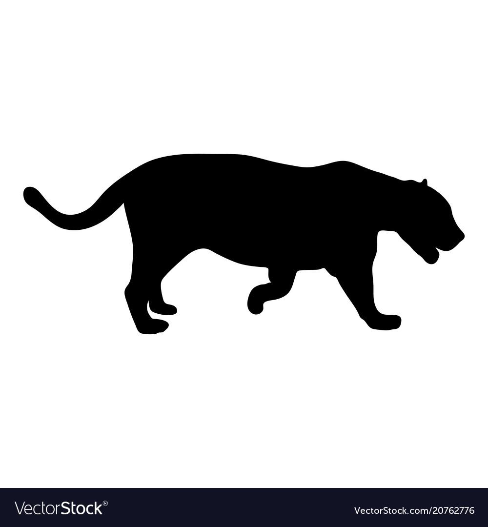 Black silhouette of running leopard on white