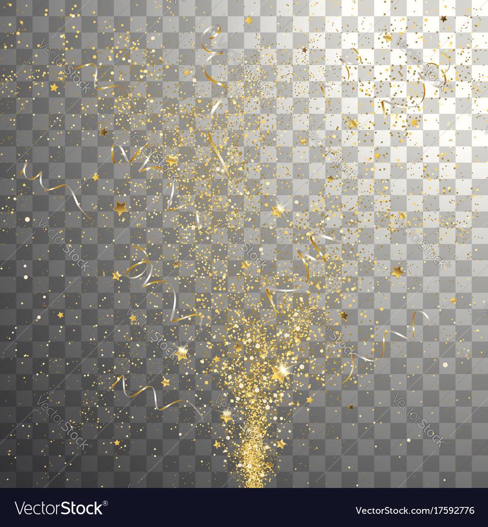 Burst festive gold confetti vector image