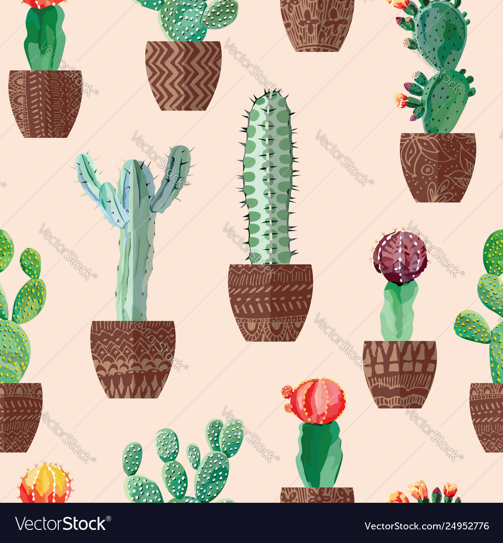 Cactus in pots seamless beige background