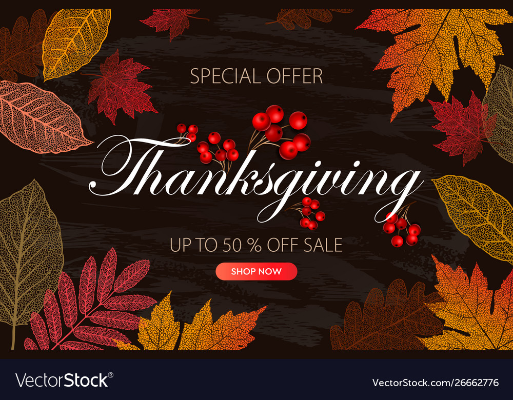 Calligraphy thanksgiving day sale banner