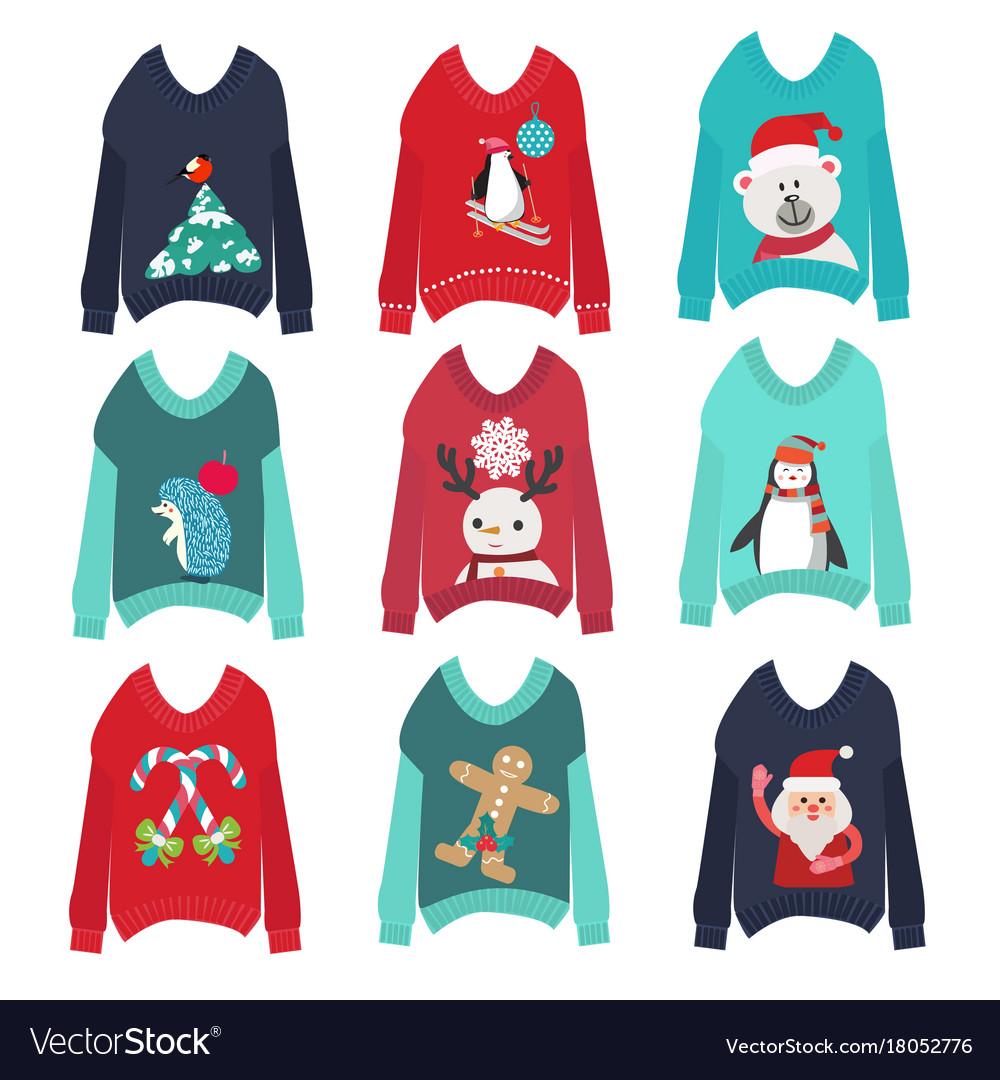 Christmas Sweaters Cute.Cute Ugly Christmas Sweaters Set Sweater Party