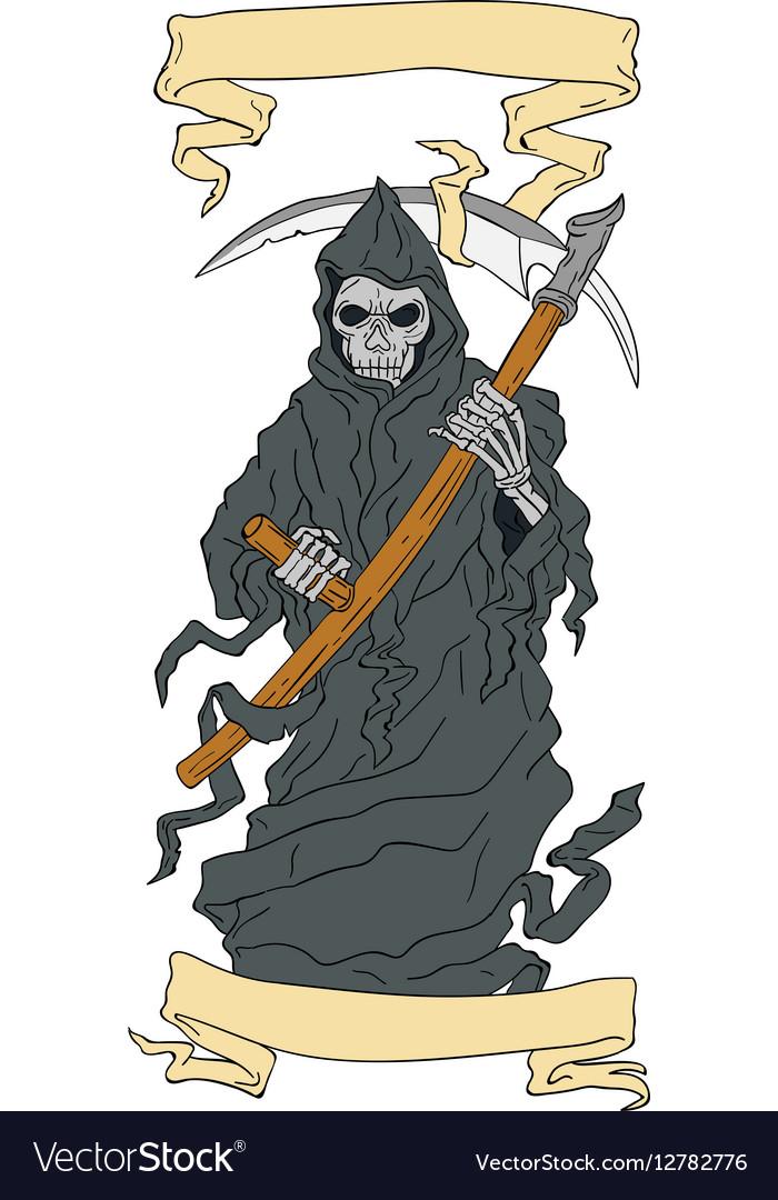 Grim Reaper Scythe Scroll Drawing vector image