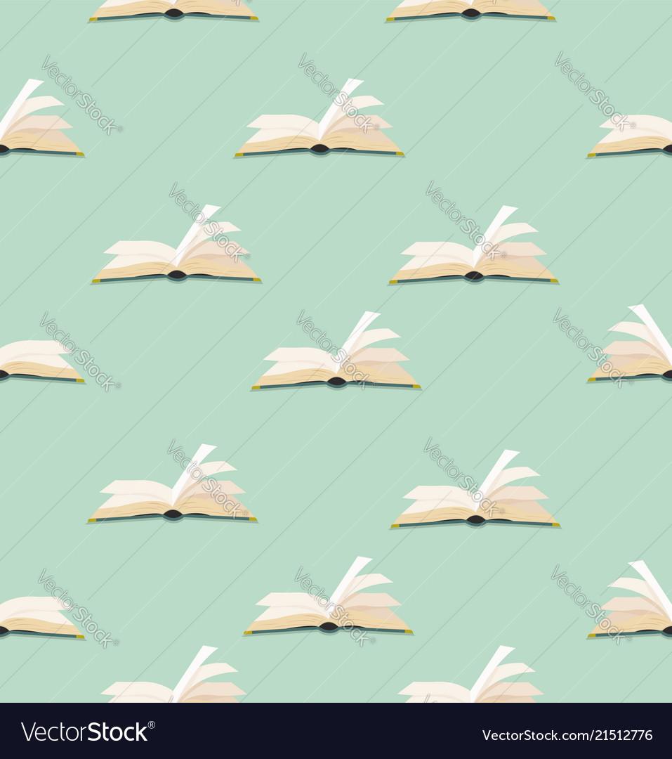 Open green book flat design pattern