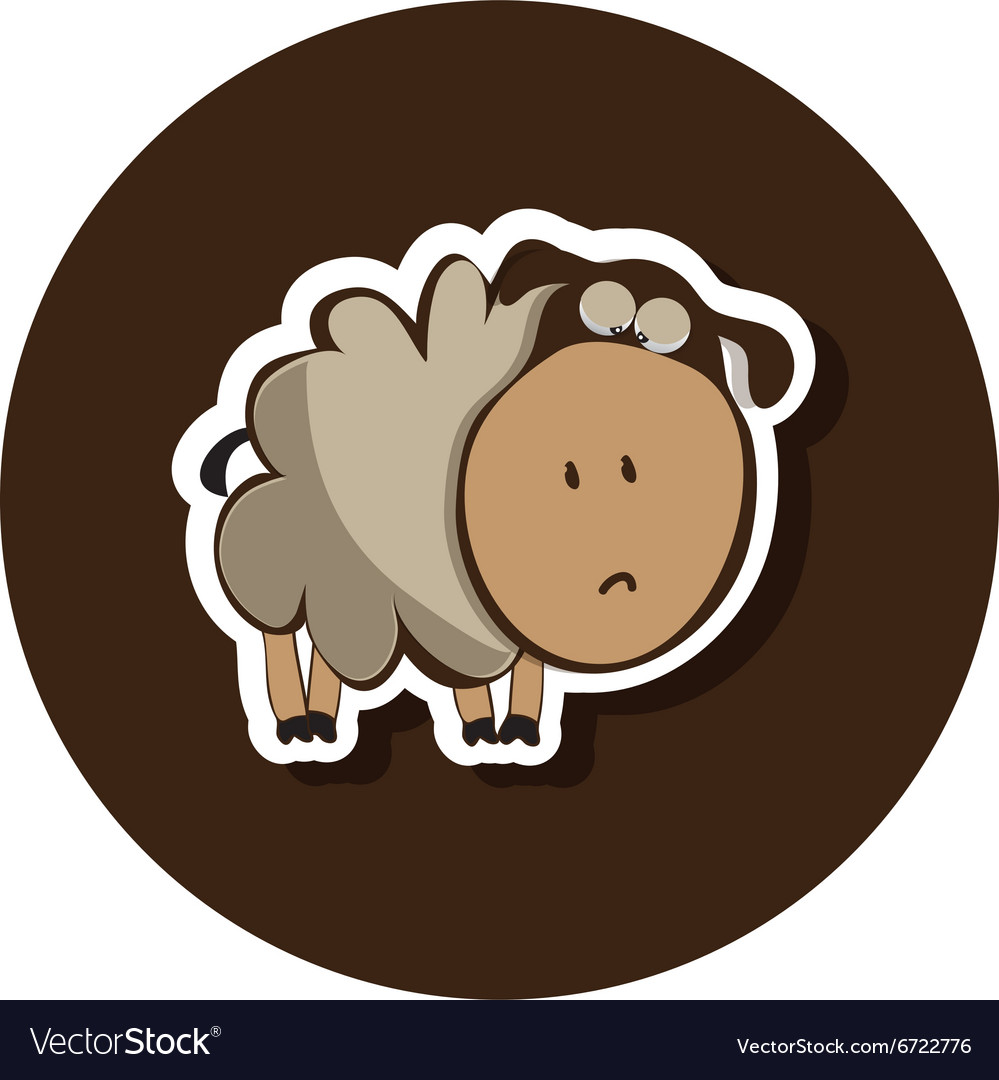 Sad lonely little lamb vector image
