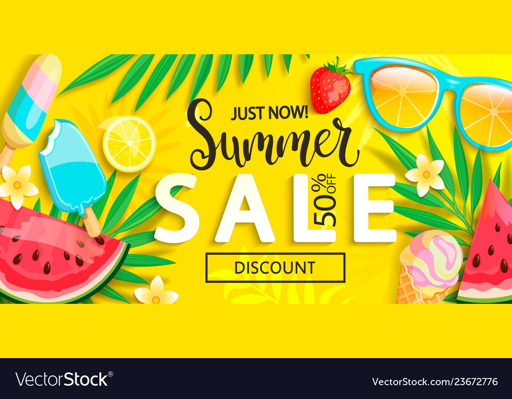 Sale banner with symbols for summer time