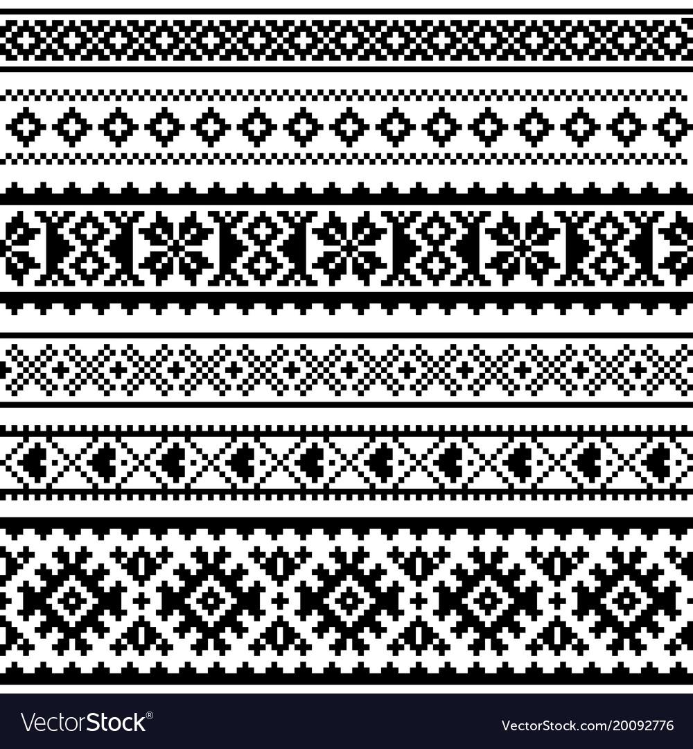 Sami seamless pattern lapland folk art