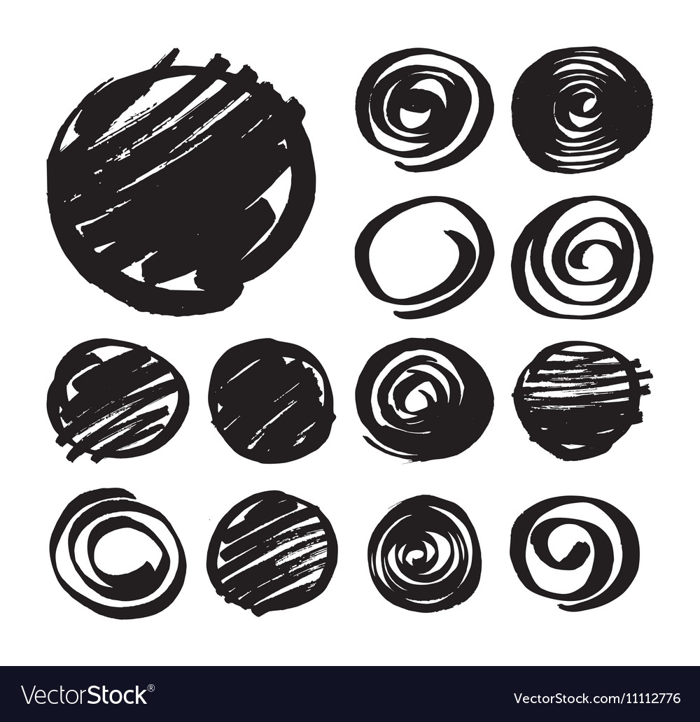 Shaded Circles and Spiral Design Elements