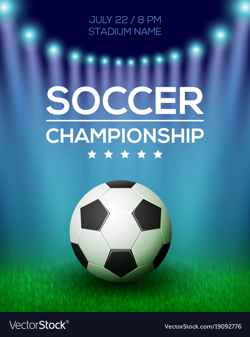 Soccer Championship Poster Design Royalty Free Vector Image