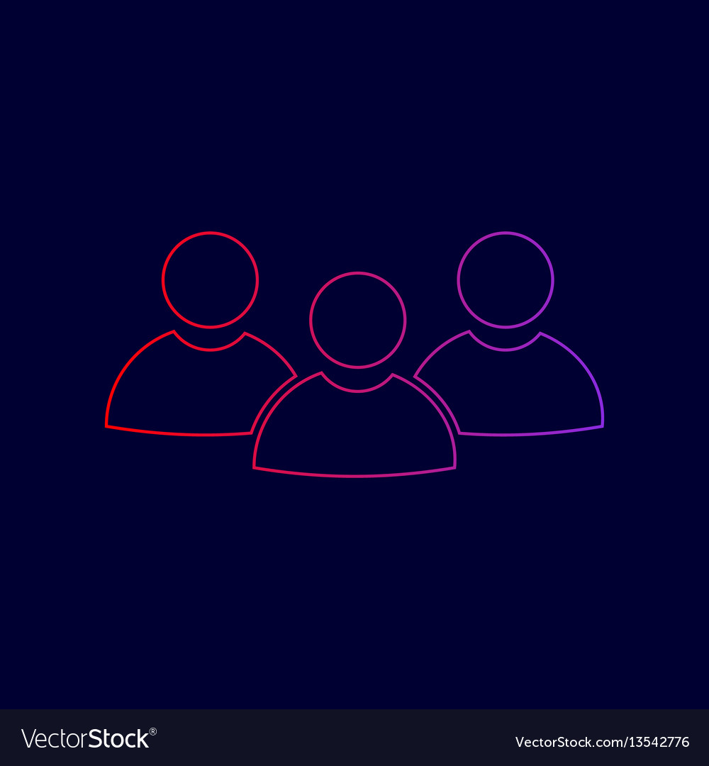 Team work sign line icon with gradient