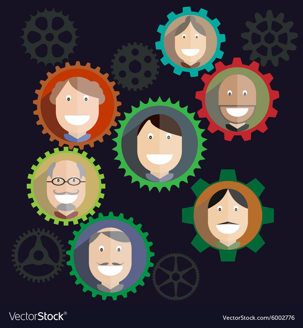 Teamwork mechanism People Business Composition vector image