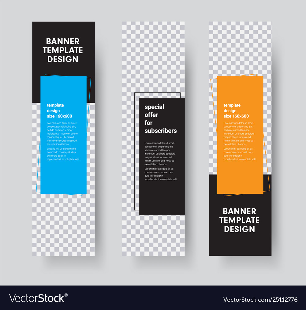 Templates For Vertical Web Banners With Space For Vector Image