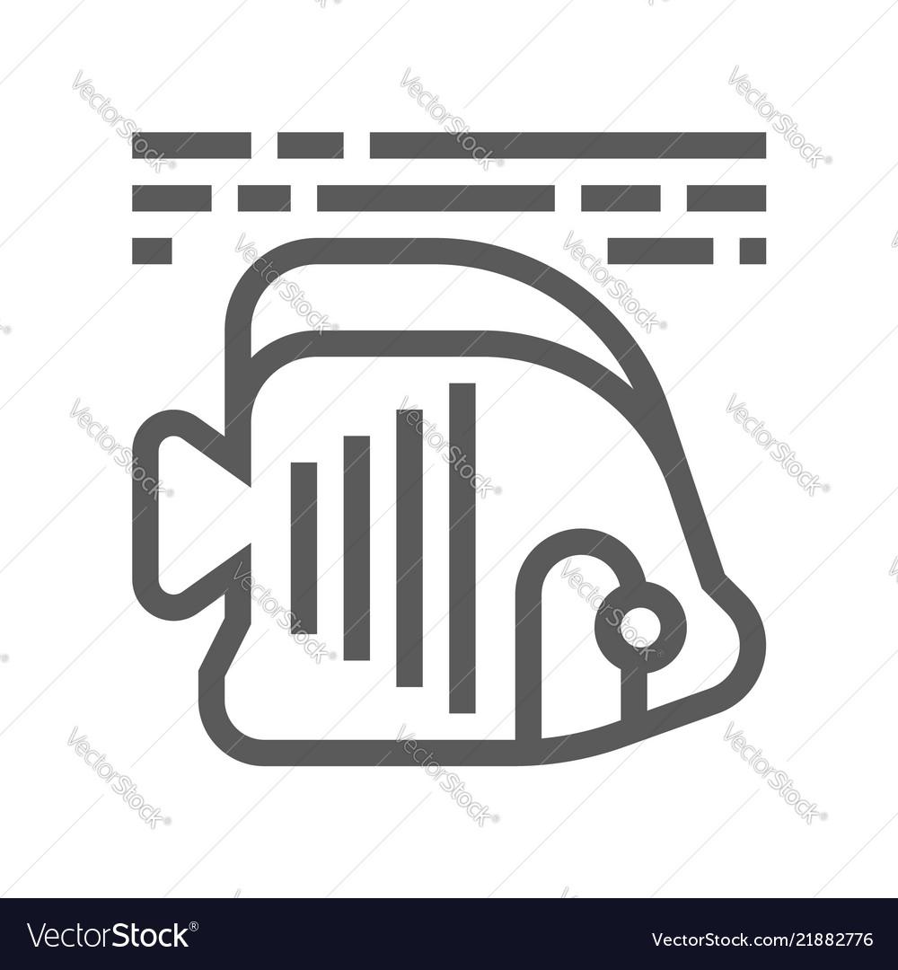 Tropical fish line icon