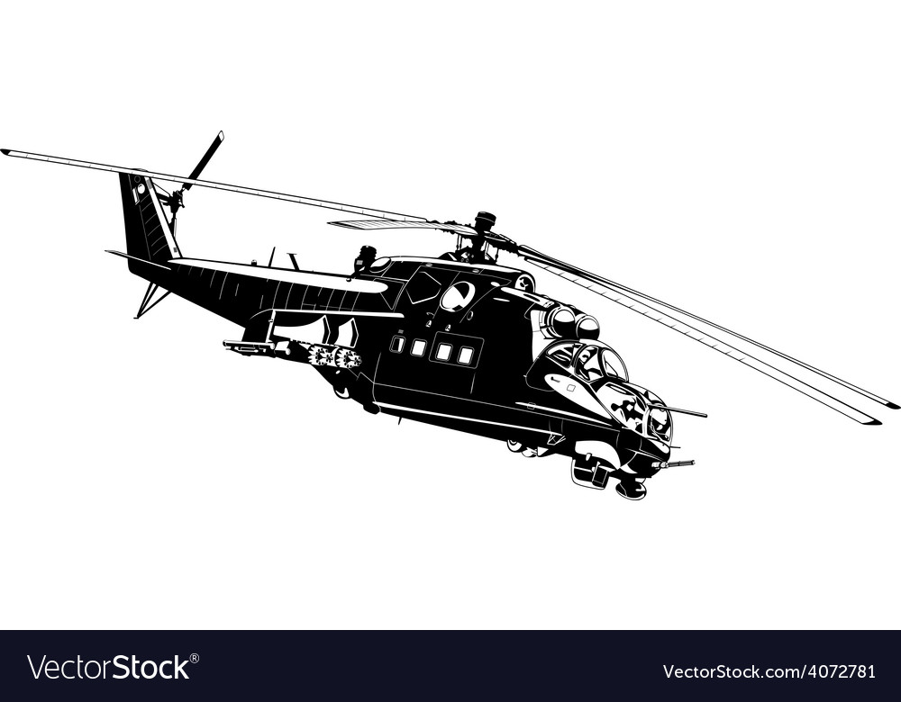 Attack helicopter Mi-24 vector image