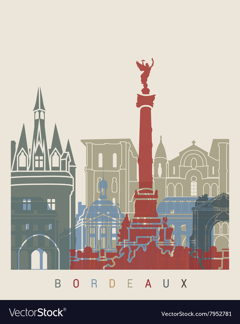 Bordeaux skyline poster vector image