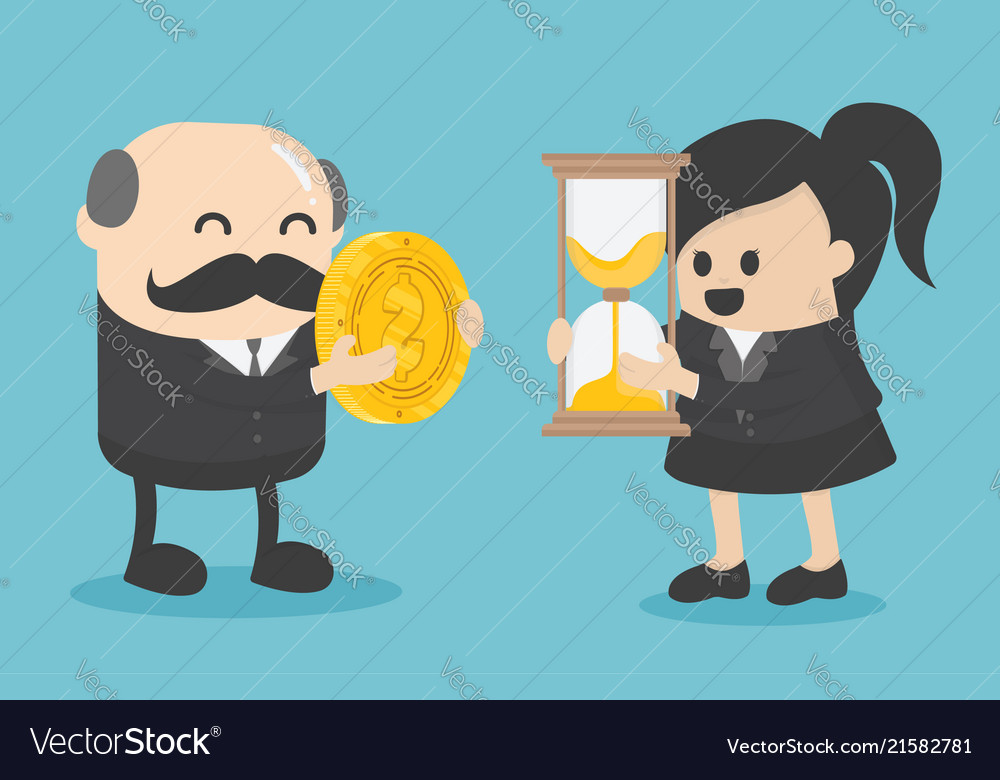 Businessman and businesswoman are change a watch