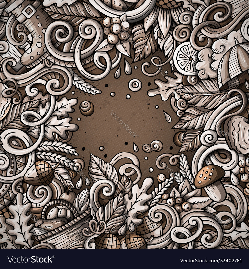 Cartoon cute doodles hand drawn autumn frame