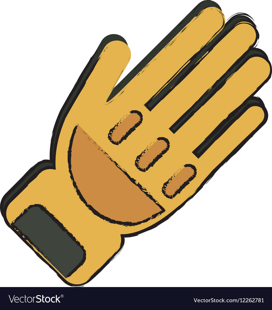 Drawing yellow glove protection fireman elements