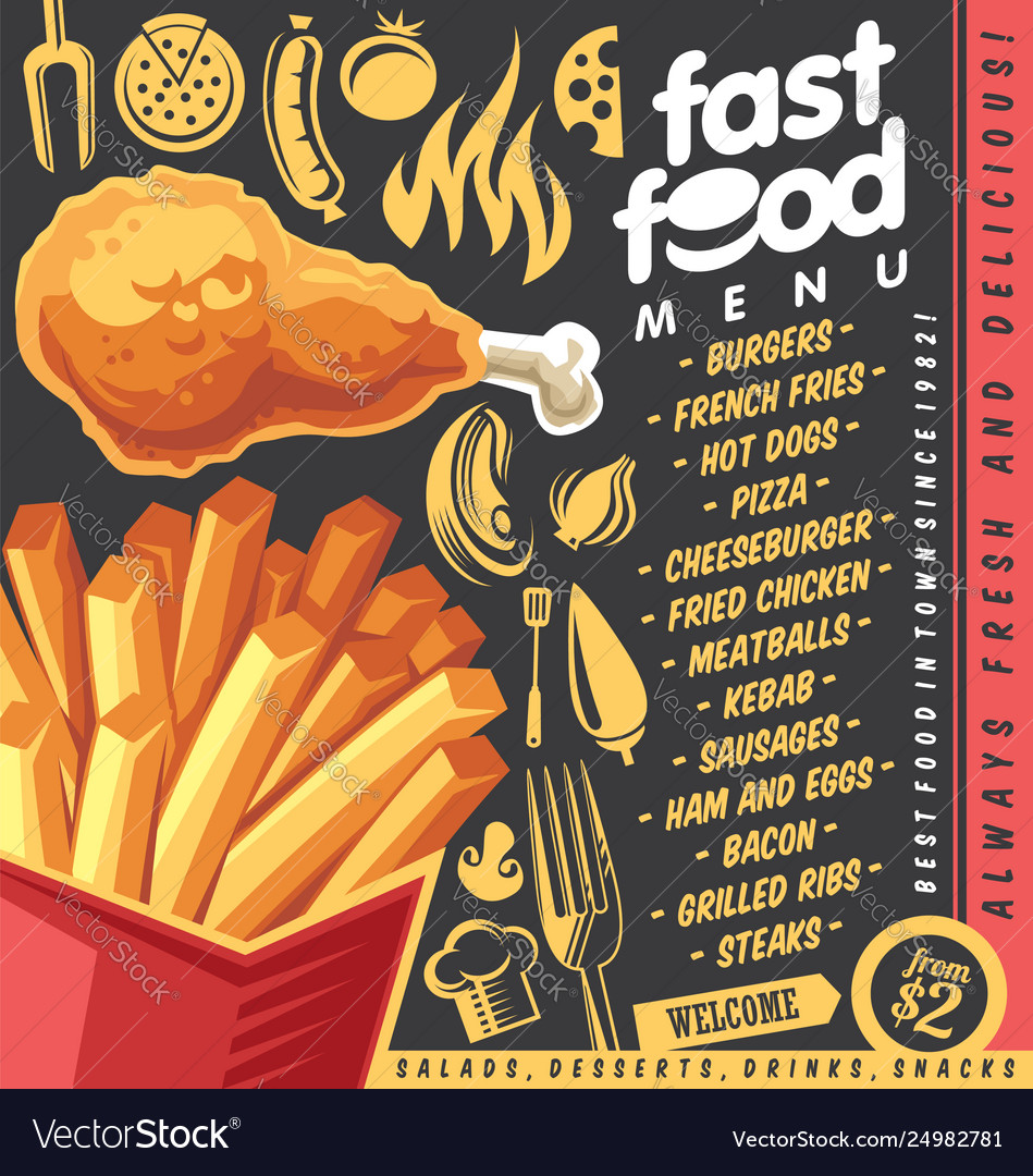 Fast food restaurant menu design with french fries