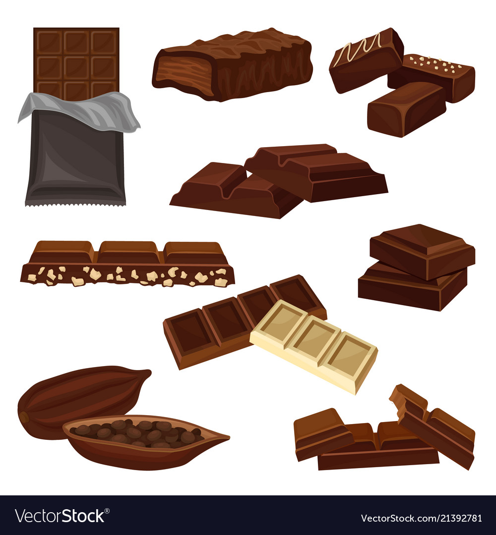 Flat set of chocolate products candies