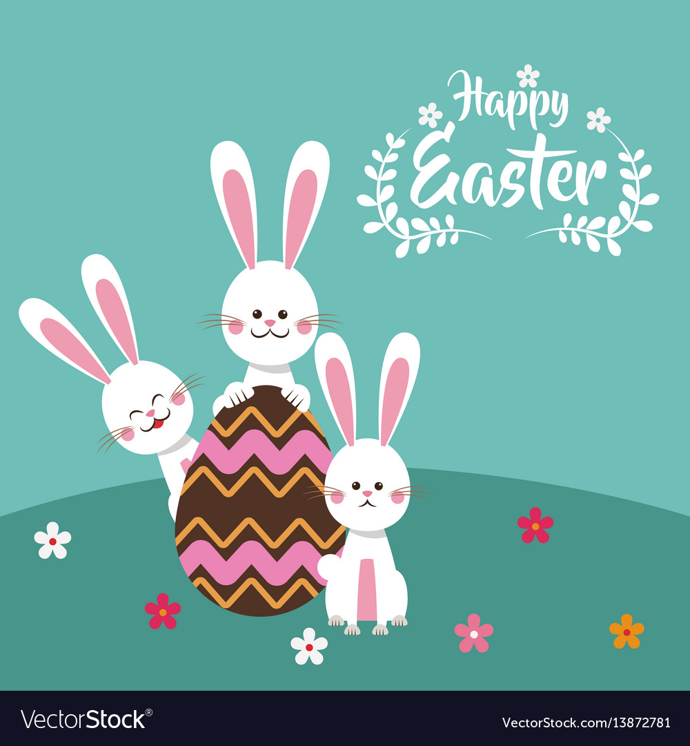 Happy easter bunnies chocolate egg floral