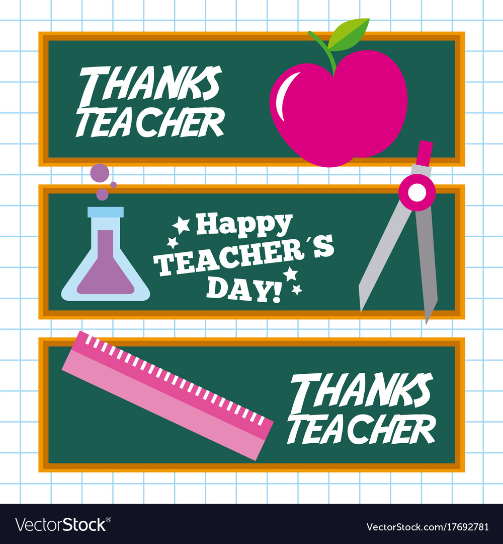 Happy teacher day card invitation celebration vector image altavistaventures Images