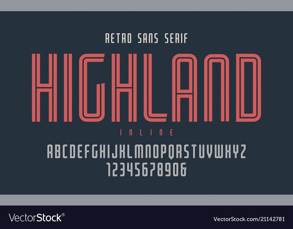 Highland condensed inline retro typeface