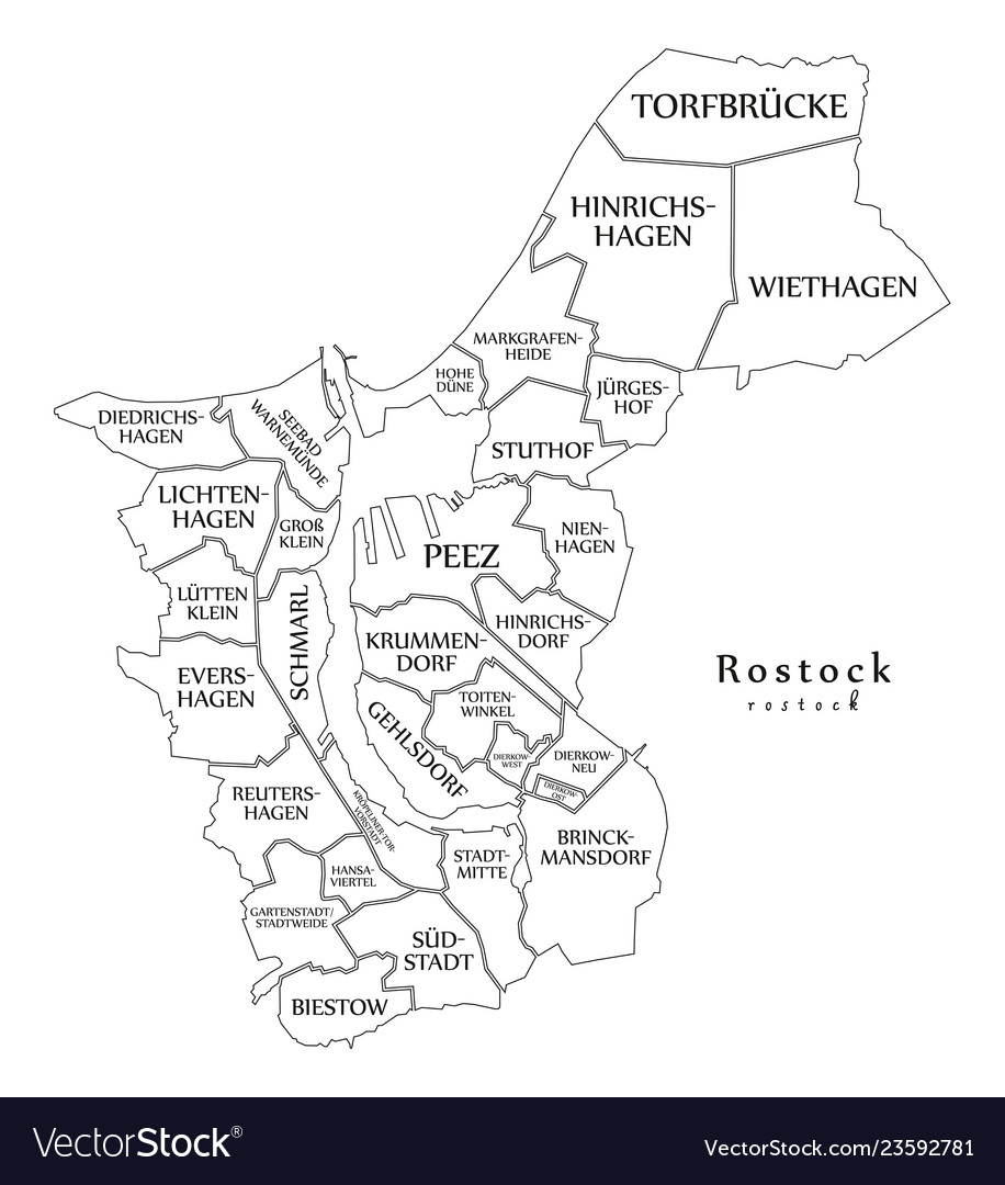 Modern City Map Rostock City Of Germany With Vector Image