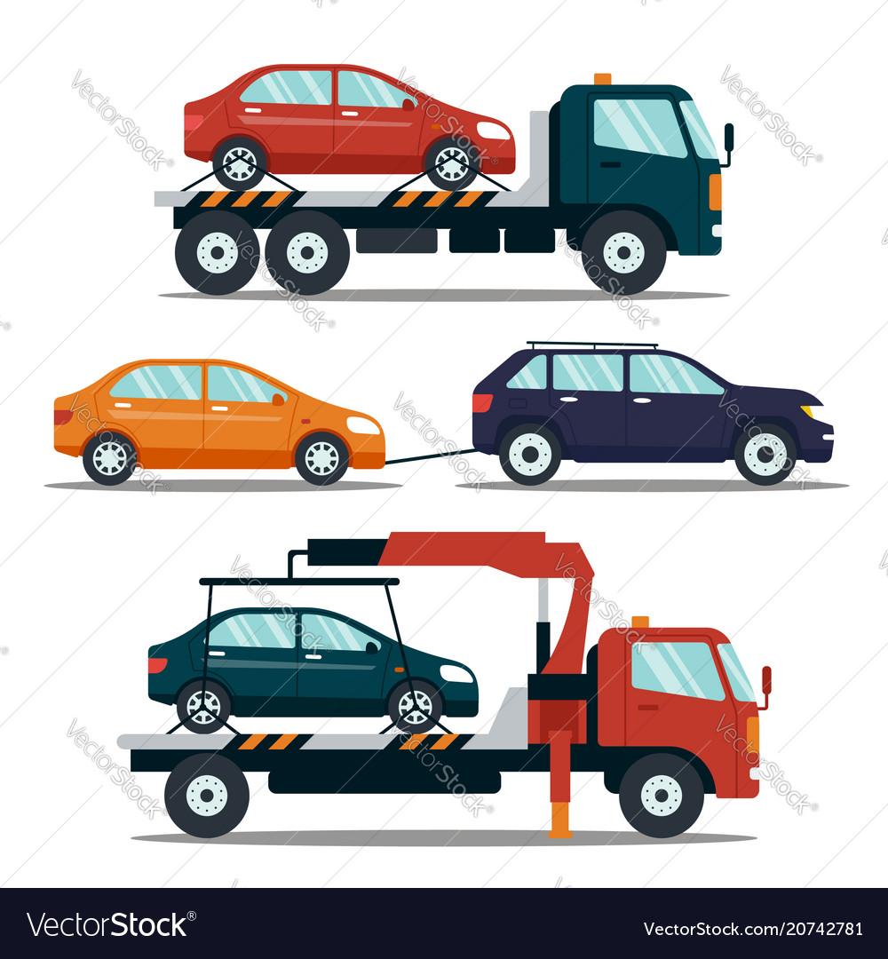 Set of cars evacuating broken or damaged auto