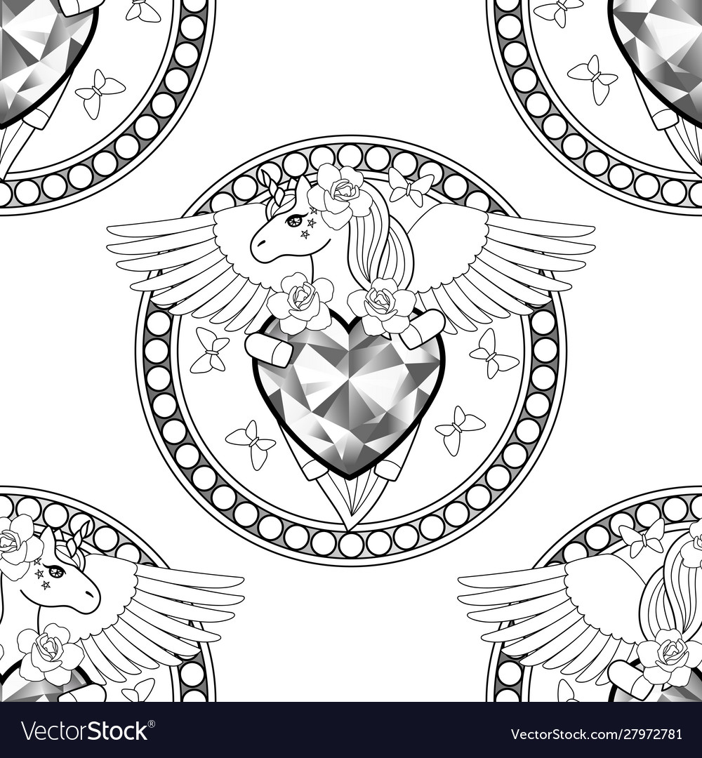 Unicorn with heart and wings seamless pattern