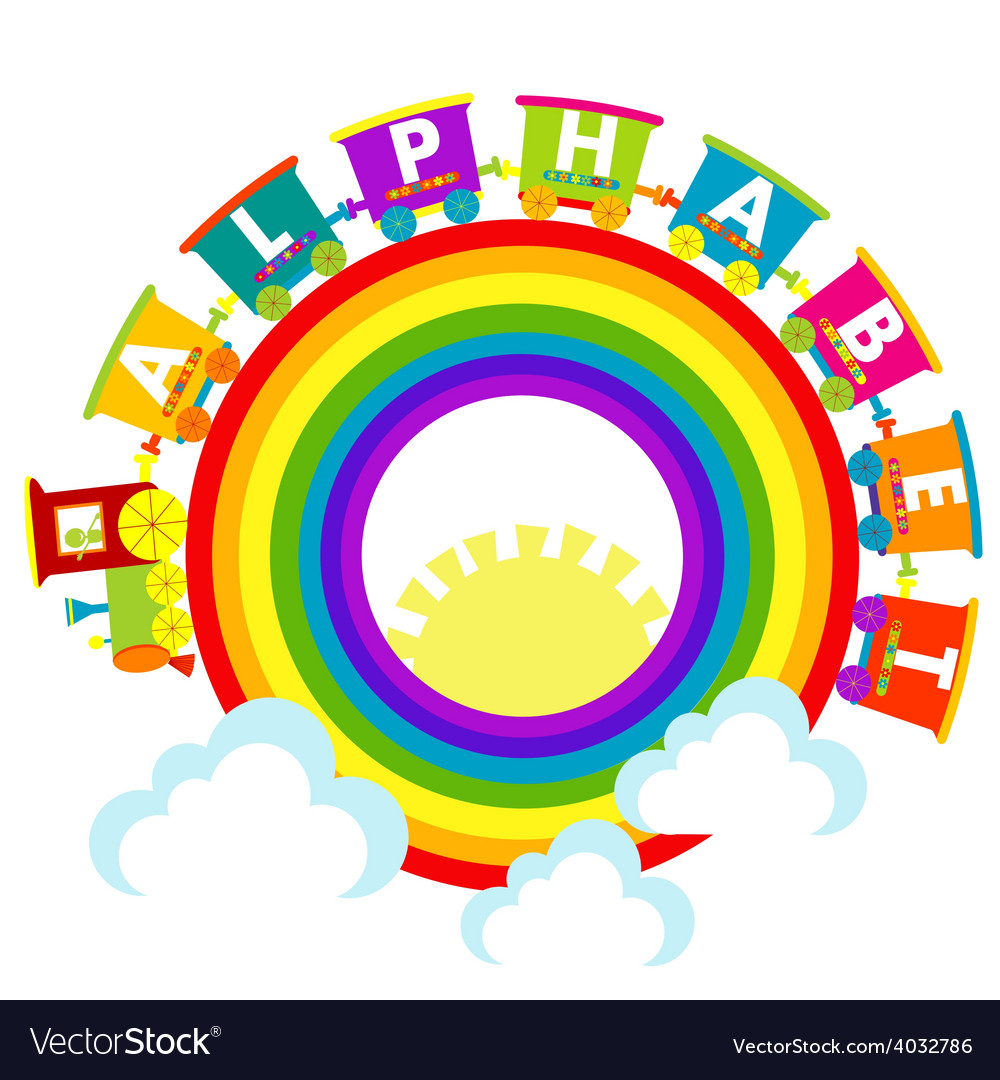 Alphabet train with raindow and clouds
