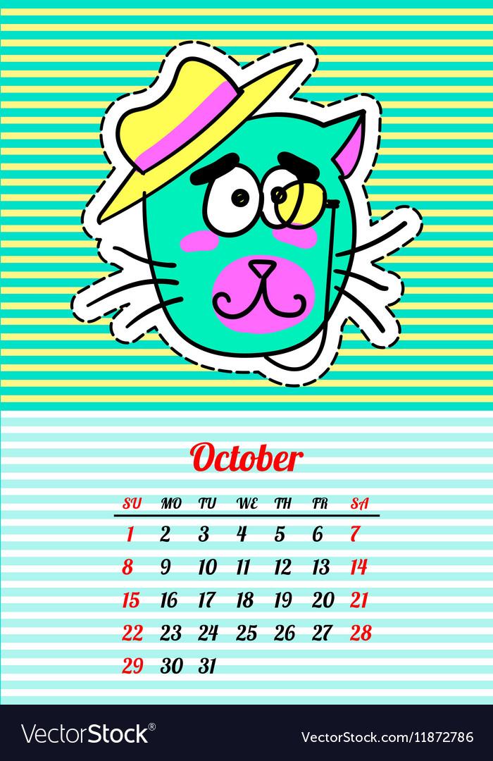 Calendar 2017 with cats October In cartoon 80s