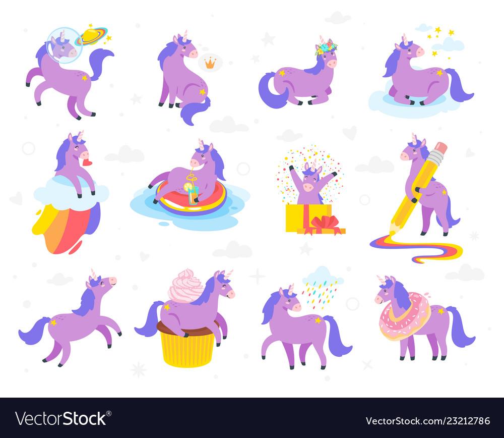 Cute unicorn fairytale animal