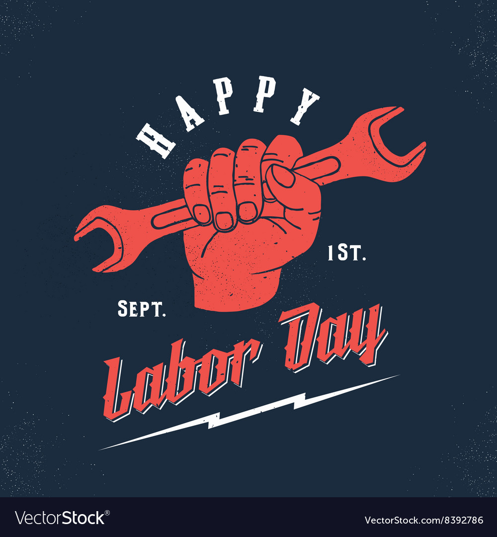 Happy Labor Day Vintage Poster Card Print