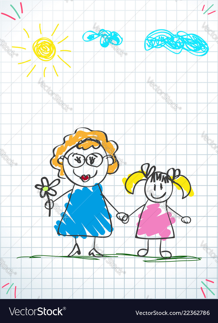 Kids doodle drawings of girl and woman together