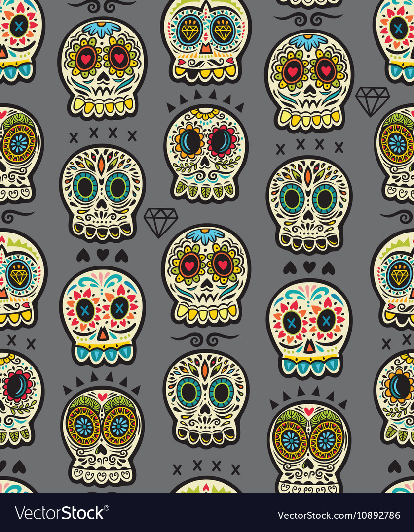 Mexican day dead colorful skull cute