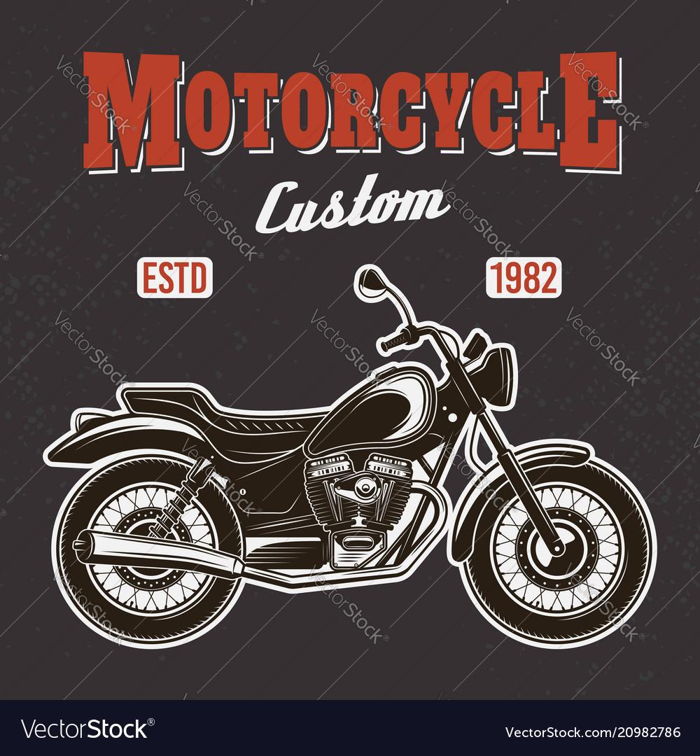 Motorcycle on dark background t-shirt print
