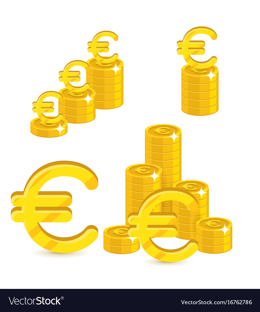 Piles Gold Euro Isolated Cartoon Set Royalty Free Vector